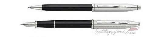 Set estilográfica y bolígrafo Cross Century II negro y cromo
