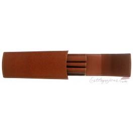 Funda de piel repujada GvFC marrón triple