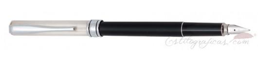 Estilográfica Aurora Magellano Negro Plata