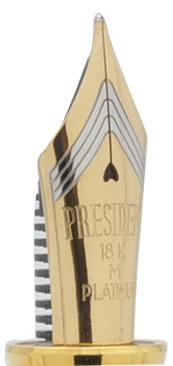 Plumín President de Platinum de oro de 18 quilates