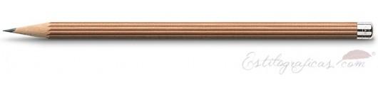 6 lápices largos de cedro marrón con botón plateado