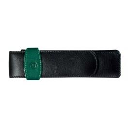 Estuche de cuero negro y verde Pelikan para dos instrumentos.