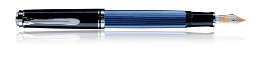 Estilográfica Pelikan Souverän M 805 Negro y Azul,  guarniciones en plata