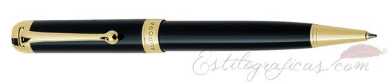 Bolígrafo Aurora Talentum resina negra y detalles dorados D32-N