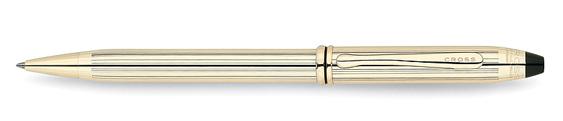 Bolígrafo Cross Townsend Laminado en Oro de 10 quilates y detalles en baño de oro de 23 quilates