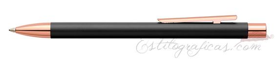 Bolígrafo Faber-Castell Essentio Neo Slim Negro Mate y Oro Rosa 343320