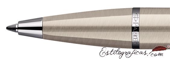 Detalle de boquilla del bolígrafo Parker IM Brushed Metal CT (detalles cromados)