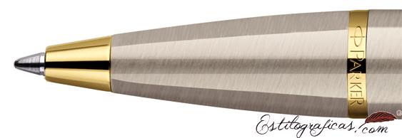 Detalle de boquilla del bolígrafo Parker IM Gun Metal CT (detalles cromados)