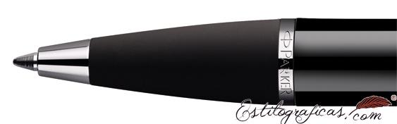 Detalle de boquilla del bolígrafo Parker IM Negro CT (detalles cromados)