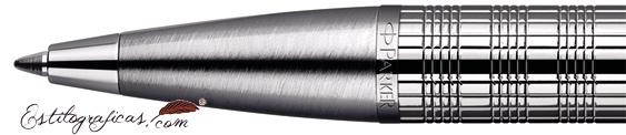 Detalle de boquilla del bolígrafo Parker IM Premium Chiny Chrome Chiselled