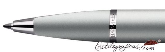 Detalle de boquilla del bolígrafo Parker IM Plateado CT (detalles cromados)