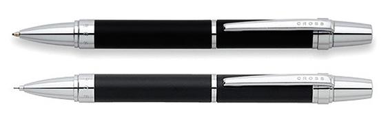 Juego de portaminas más bolígrafo Cross Nile negro satinado