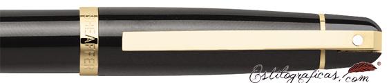 Detalle del caperuza y clip de bolígrafos Gift 500 Negro GT de Sheaffer