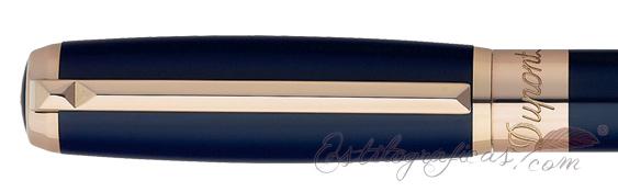 Capuchón del bolígrafo ST Dupont Line D Blue Laquer and Rose Gold