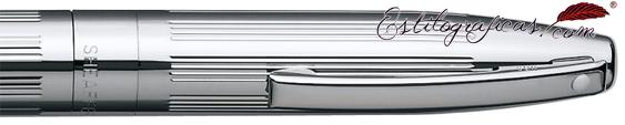 Detalle de punto blanco, capuchón y clip de los bolígrafos paladio de Sheaffer