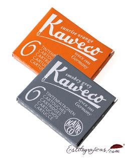 Cartuchos de Tinta Kaweco gris y naranja, cartuchos universales