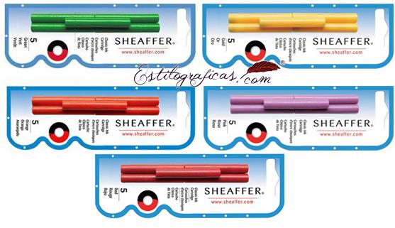 Cartuchos de tinta clásica Sheaffer, tinta rosa, tinta naranja, tinta oro, tinta verde y tinta roja