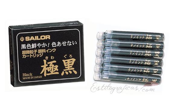 Cartuchos Sailor de tinta pigmentada negra Kiwa-Guro