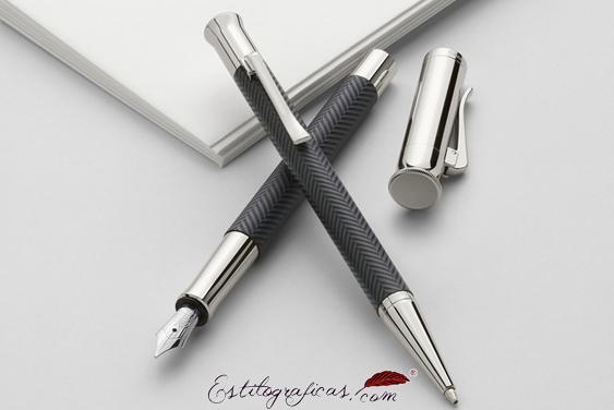 Conjunto de pluma estilográfica y bolígrafo Graf von Faber-Castell Guilloche Ciselé Gris Antracita