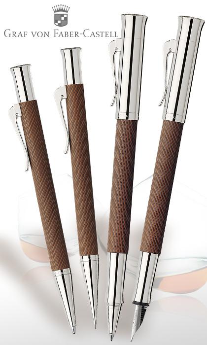 Conjunto de bolígrafo roller, estilográfica y portaminas Graf von Faber-Castell Guilloche coñac
