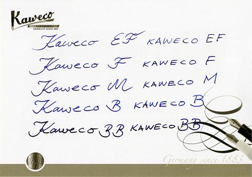 Ejemplo de escritura con los diferentes plumines Kaweco