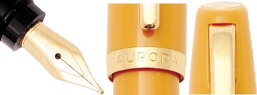 Detalle de diseño y plumín de la Aurora Style mustard