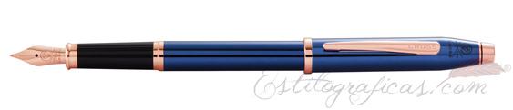 Estilografica Cross Century II Azul Cobalto y Oro Rosa AT0086-138