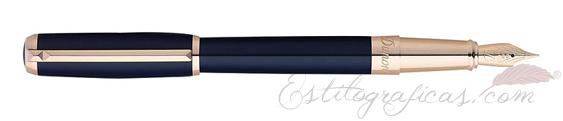 Pluma estilográfica ST Dupont Line D Laca Azul y Oro Rosa 410679