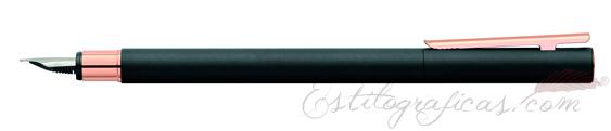 Pluma estilográfica Faber-Castell Neo Slim Negro Mate Oro Rosa 343100