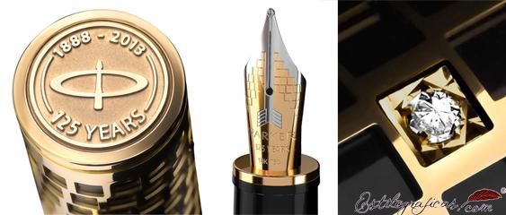 Detalles de la pluma Estilográfica Parker Duofold Giant oro 125 años