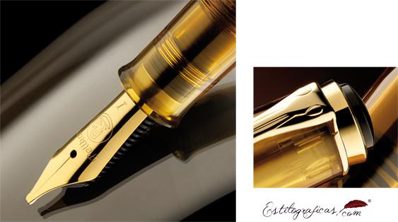 Plumín y detalle de clip chapados en oro de la estilográfica Pelikan Classic M 200 Cognac