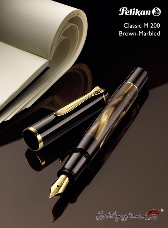 Publicidad de Pelikan de la pluma estilográfica M200 Brown Marbled