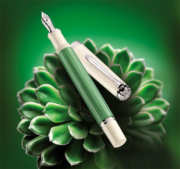 Publicidad Pelikan Souverän Green White M605