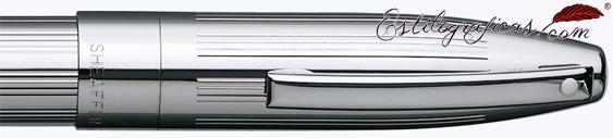 Detalle de punto blanco, capuchón y clip de pluma estilográfica paladio de Sheaffer