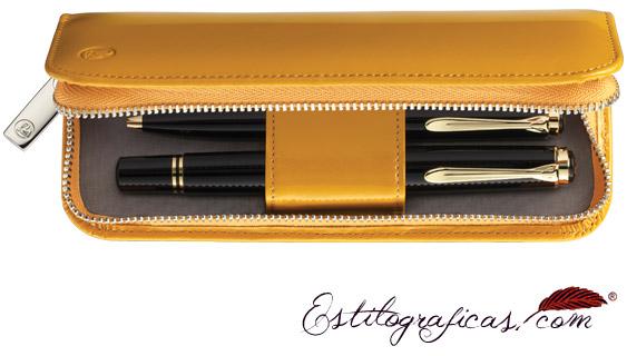 Estuche Pelikan de cuero lacado amarillo brillante para dos instrumentos