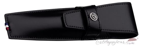 Estuche de cuero liso negro ST Dupont para una estilográfica 180017