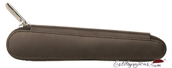 Estuche de piel marrón con cremallera Faber-Castell para una pieza 188359