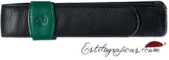 Estuche Pelikan de cuero negro y verde de piel de becerro para un instrumento de escritura