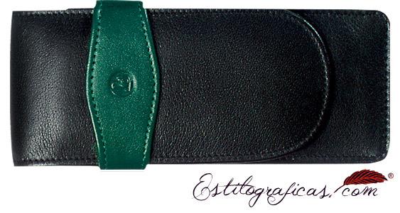 Estuche Pelikan de cuero negro y verde de piel de becerro para tres instrumentos de escritura