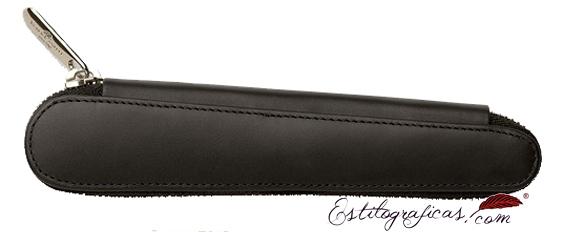 Estuche con cremallera Faber-Castell de cuero negro para una pieza 188358
