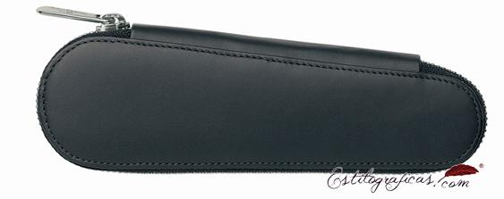 Estuche con cremallera Faber-Castell de cuero negro para dos instrumentos 188360