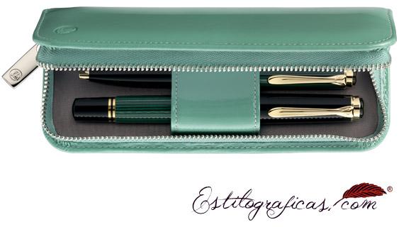 Estuche Pelikan de cuero lacado verde brillante para dos instrumentos
