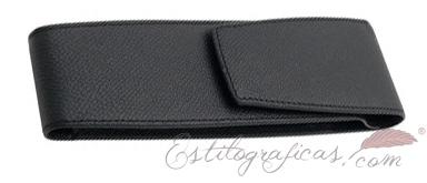 Estuche de piel repujada negra Epsom para dos piezas de Graf von Faber Castell 118821