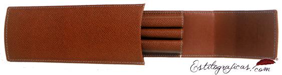 Funda de piel marrón repujada para tres piezas Graf Von Faber Castell 118812