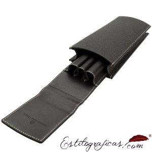 Estuches de piel Graf von Faber-Castell para 3 estilografica, bolígrafo y portaminas