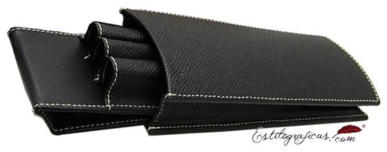 Estuche de piel repujada negra Epsom para tres piezas de Graf von Faber Castell 118811
