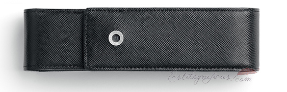 Estuche de piel saffiano negra doble Graf Von Faber Castel 118829