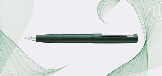 Publicidad de estilográfica Lamy Aion verde oscura