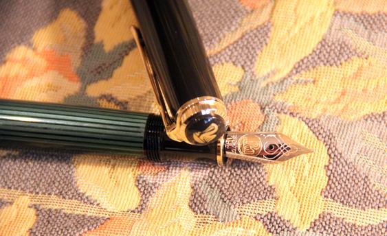 Estilográfica Pelikan Souverän M 800 Negro y Verde foto definición