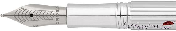 Plumín de pluma estilográfica Cross Classic Century Icy Chrome o cromada brillante